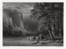 "WOW 1800s Albert Bierstadt Engraving ""Halt in a Valley South America"" SIGNED COA"