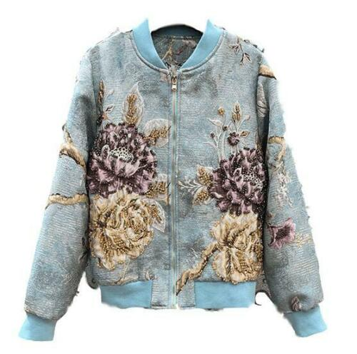 Crystal Women's Court Coat Luxury Jacket Flowers Embroidery Outwear Short Beads nOOWYxrqgT