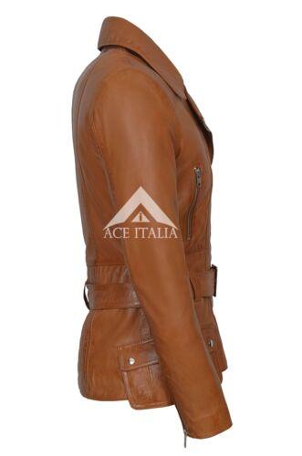 100 Napa Washed Ladies Jacket Tan 2812 Motorcycle Style Real Leather Biker zrPrFO