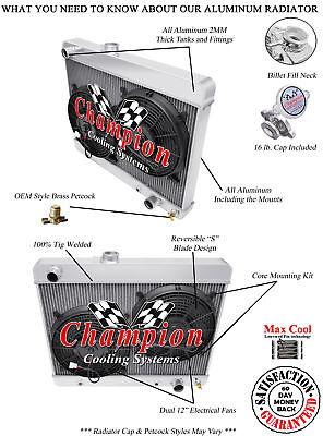 "1964-1965 Pontiac LeMans Aluminum 3 Row Champion Radiator /& 2-12/"" Fans"