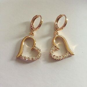 tz-Plum-UK-9ct-GOLD-Filled-Sim-Diamond-HUGGIE-Hoop-amp-Heart-Dangle-Earrings-BOXED
