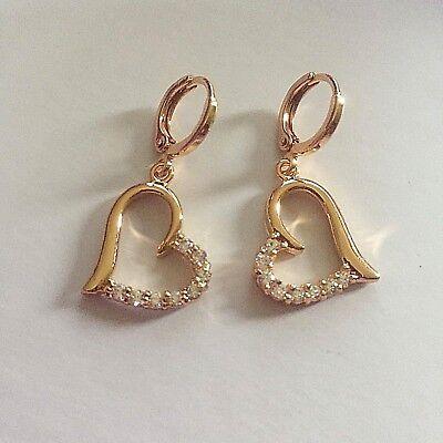 tz Plum UK ROSE GOLD Filled Sim Diamond HUGGIE Hoop /& Heart Dangle Earrings BOXD