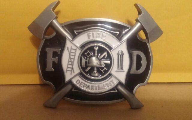 Fire fighter belt buckle maltise cross FIRE DEPARTMENT WITH AXES