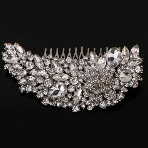 Crystal Floral Leaf Tiaras Crown With Comb Head Piece Wedding Hair Accessories