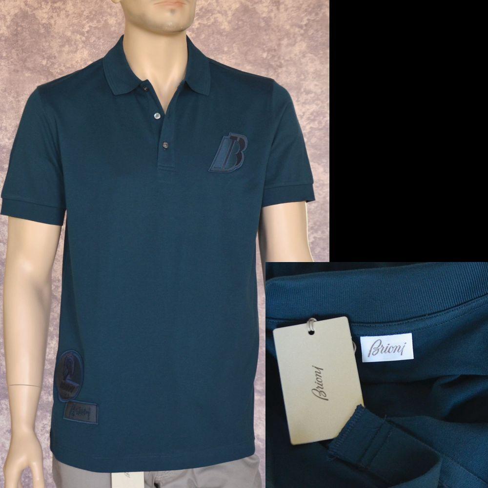 BRIONI New sz L Authentic Designer Mens Luxury Cotton Top Polo Shirt bluee