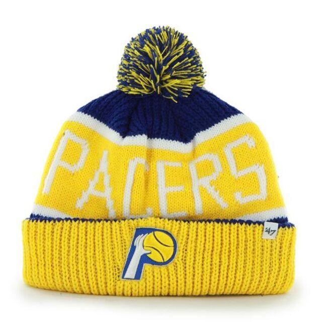 pick up 2ed07 4ed8e Indiana Pacers - Logo Calgary Yellow and Blue Pom Pom Beanie Cap Knit Hat