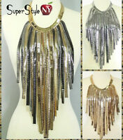 Snake Choker Fringe Statement Omega Fishbone Egyptian Chain Metal Bib Necklace