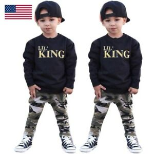 56a82df18db8 2pcs Newborn Toddler Infant Kids Baby Boy Clothes T-shirt Tops+Pants ...