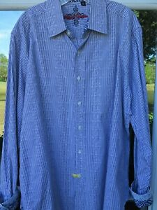 Robert katoenen gestreepte shirt blauw geweven Xl Mannen Paisley witte Graham casual Euc rQdxoWBCeE