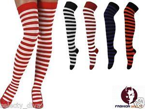 Halloween-Christmas-Striped-Stripe-Stripy-Fancy-Dress-Girls-Women-Overknee-Socks