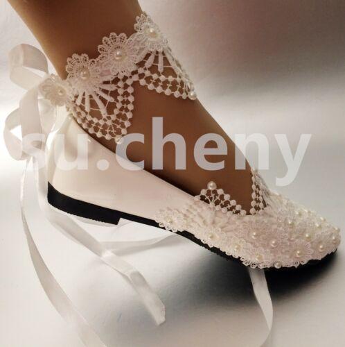 su.cheny White light ivory lace pearl rhinestone ankle flat Wedding Bridal shoes