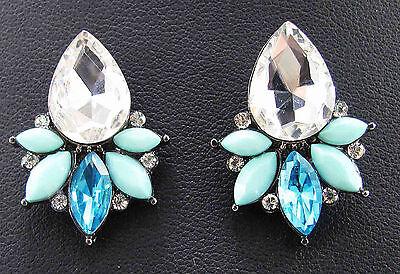 Fashion  Handmade Women Lady Elegant Crystal Rhinestone Ear  Stud Earrings 27mm