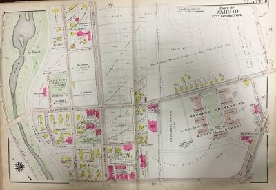 1906 GW BROMLEY BOSTON ROXBURY MA HARVARD UNIVERSITY MEDICAL SCHOOL ATLAS MAP