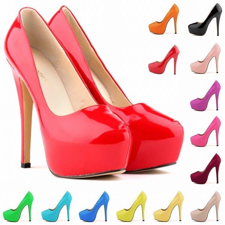 Platform High Heels Damen Lackleder Pumps Sommer Stiletto Slipper Rund Schuhe