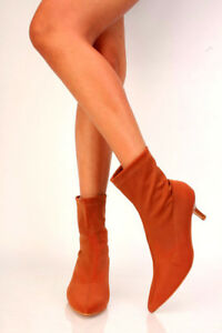 Tan-Nude-Women-Ankle-High-Stretch-Sock-Pointed-Toe-Kitten-Low-Heel-Boots-Booties