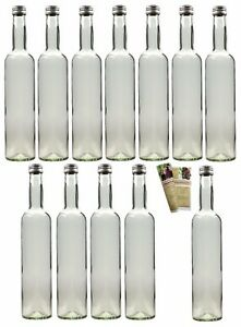 20 x 500 ml leere glasflaschen schnapsflasche flasche 0 5liter schraubverschluss ebay. Black Bedroom Furniture Sets. Home Design Ideas
