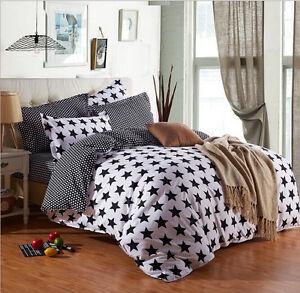 star white and black bedding duvet quilt cover set twin full queen king size ebay. Black Bedroom Furniture Sets. Home Design Ideas
