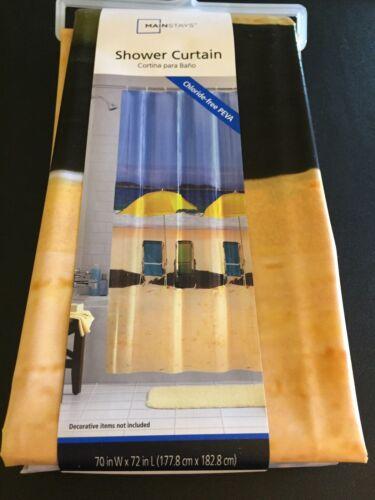 Mainstays Beach Front Chairs Umbrella Ocean Photoreal PEVA Vinyl Shower Curtain