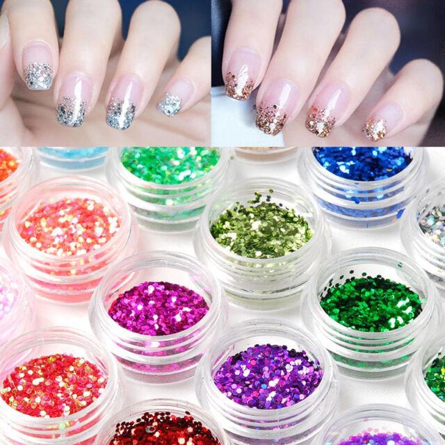 24tlg Farben Glitter Glimmer Glitzer Pulver Puder Glitterstaub Nageldesig Deko