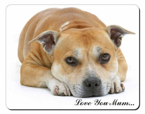 Staff Bull Terrier 'Love You Mum' Computer Mouse Mat Christmas Gift, ADSBT3lymM