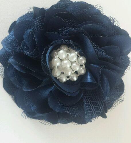 "Girls Womens 3.5./""satin net /& pearl Full Flower Hair Clip /& corsage Navy Blue."