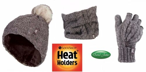 Ladies Heat Holders Thermal Warm Pom Pom Hat Neck Warmer /& Converter Gloves Set
