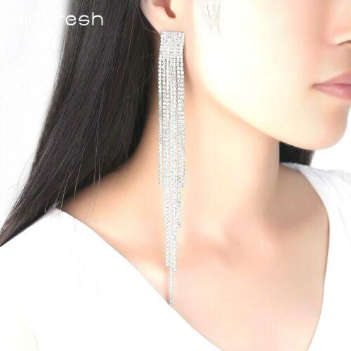 Long Drop Silver Plated Crystal Rhinestone Wedding Earrings Diamante Bridal *UK*