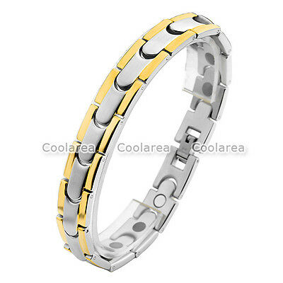 4 in 1 Stainless Steel Magnetic Energy Germanium Men's Therapy Health Bracelet