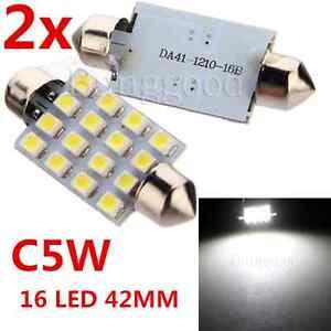 2x-42mm-16-SMD-LED-Car-Auto-Interior-Festoon-Dome-Light-White-Reading-Lamp-Bulb