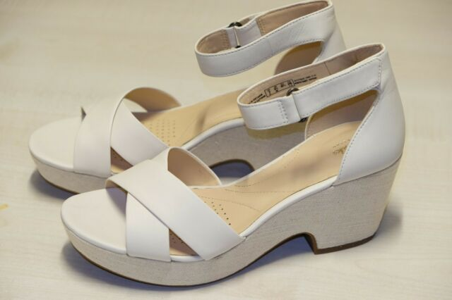 Clarks Ladies Maritsa Ruth Wedge Heeled Sandal Shoe Beige Leather UK 6 D New