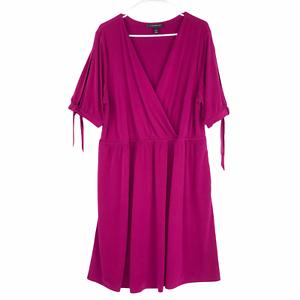Lane Bryant Pink Surplice V Neck Midi Dress Size 18 20 Short Sleeves Pockets