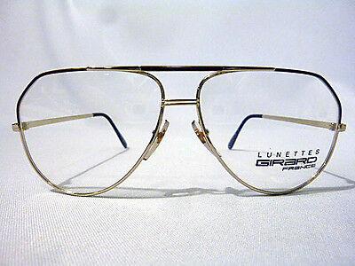 Mens Double Bridge Metal Eyeglass Frame by Girard in Gold & Amber 58-20 - NOS