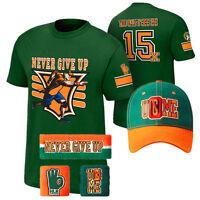 John Cena 15x Green Never Give Up Cap Hat Sweatband Men Youth Kid Child T-shirt