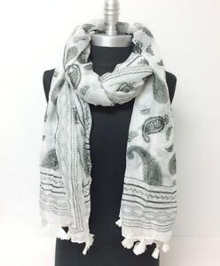 New-Women-Paisley-Print-w-Tassels-Chiffon-Long-Scarf-Soft-Wrap-Shawl-White