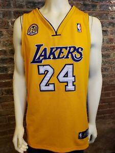 Details about Adidas Los Angeles LA Lakers Kobe Bryant 24 60th Anniversary Jersey Yellow 52
