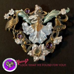 034-JJ-034-Jonette-Jewelry-Bronze-Pewter-039-Fairy-Flowers-Colored-039-Stones-Pin