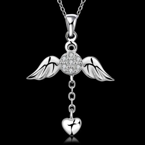 Strass 925 Silber Schutzengel Anhänger Engel Engeslrufer AUSTRIAN CRYSTAL AAA