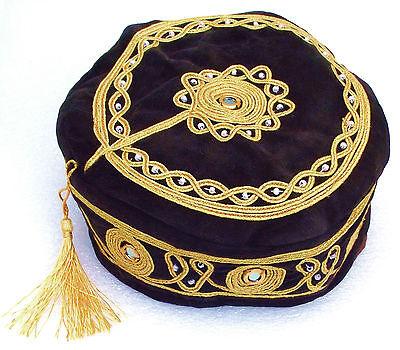 Dark Brown smoking cap hat NEW Tassel Beads mirror Mans gift S M L XL