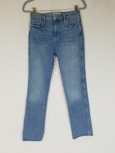 Free People women 27 high waist jeans frayed hem denim light wash