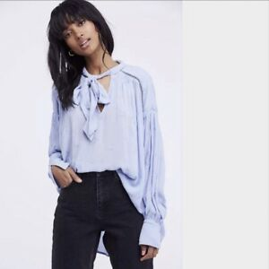 28c5ca978aa6a8 NWT FREE PEOPLE Wishful Moments Tie Neck Blouse Blue LARGE L $108 ...