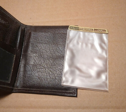 NOS car collectible Vintage AUDI brown leather wallet billfold