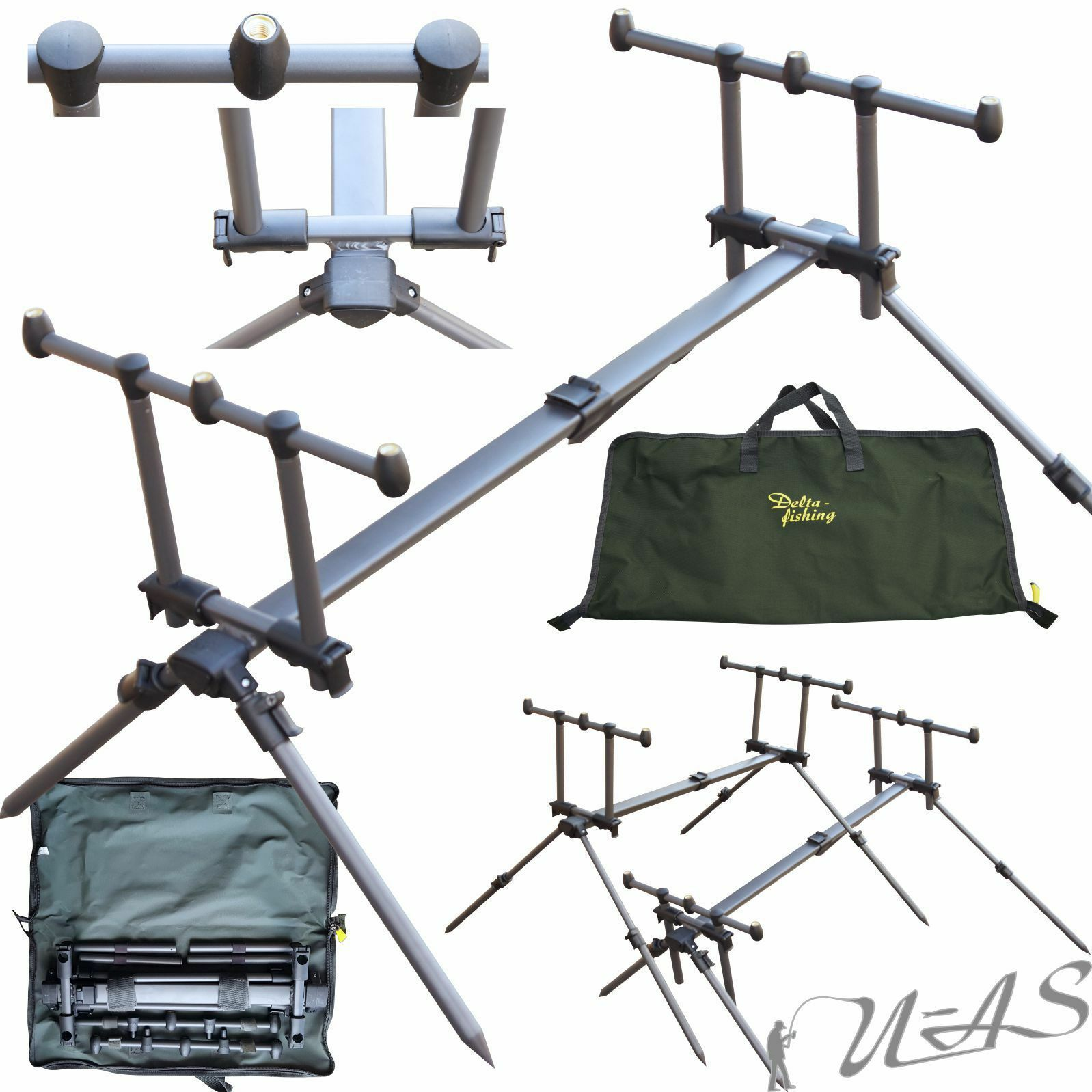 DELTA FISHING ROD POD 4 gamba supporto canne 3 supporto canne pesca canne Edizione RBA