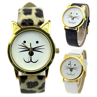 Women Girl's Cute Cat Face Dial Leather Band Quartz Analog Unique Wrist Watch