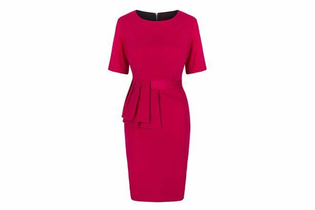 BNWT ROCHELLE HUMES BERRY PINK PLEATED  PEPLUM   DRESS  SIZE 14 RRP