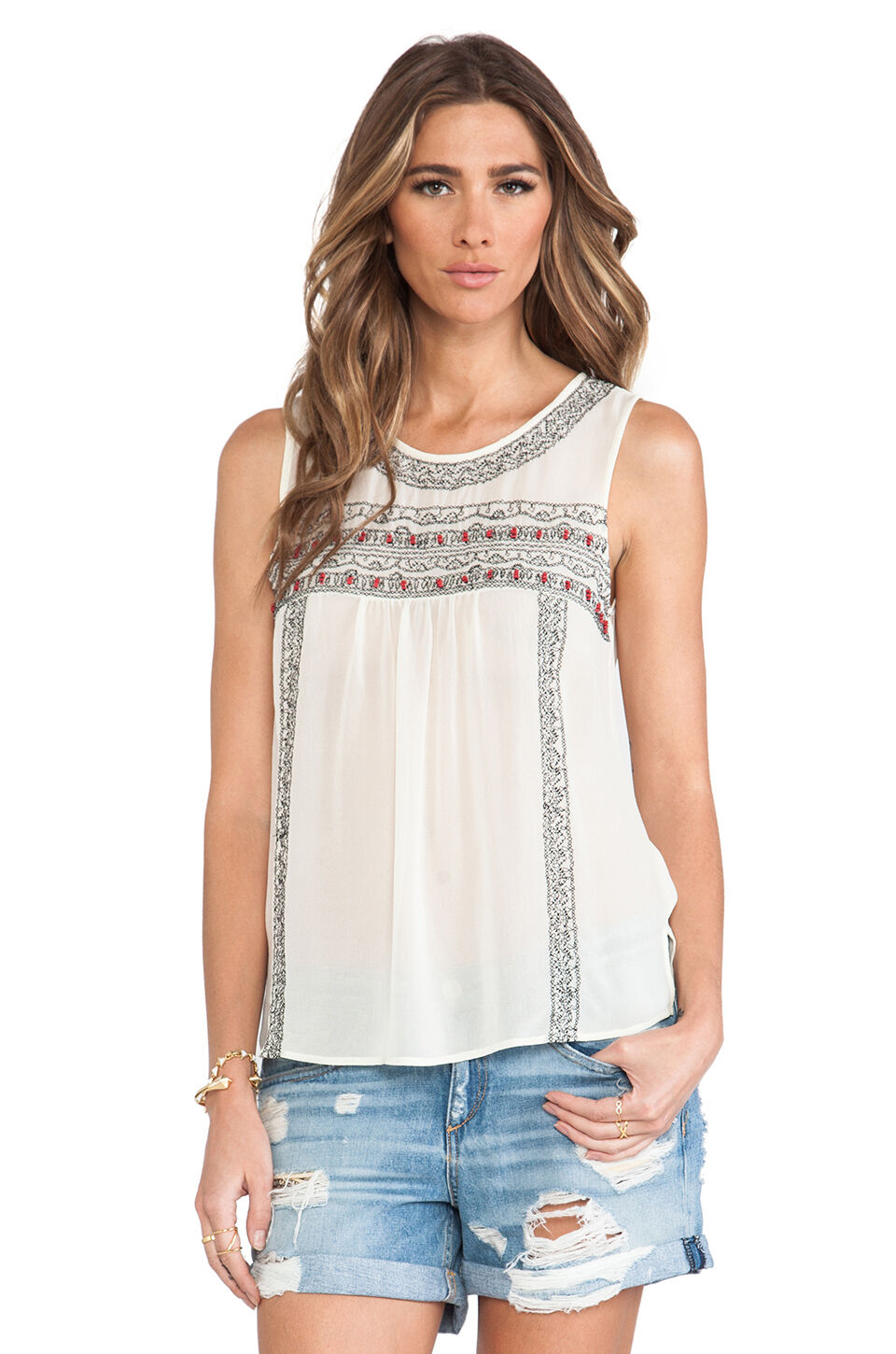NWT  298 Sz. S JOIE & 039;Norristelle& 039; Silk Embellished Beaded Blouse Tank Top Weiß