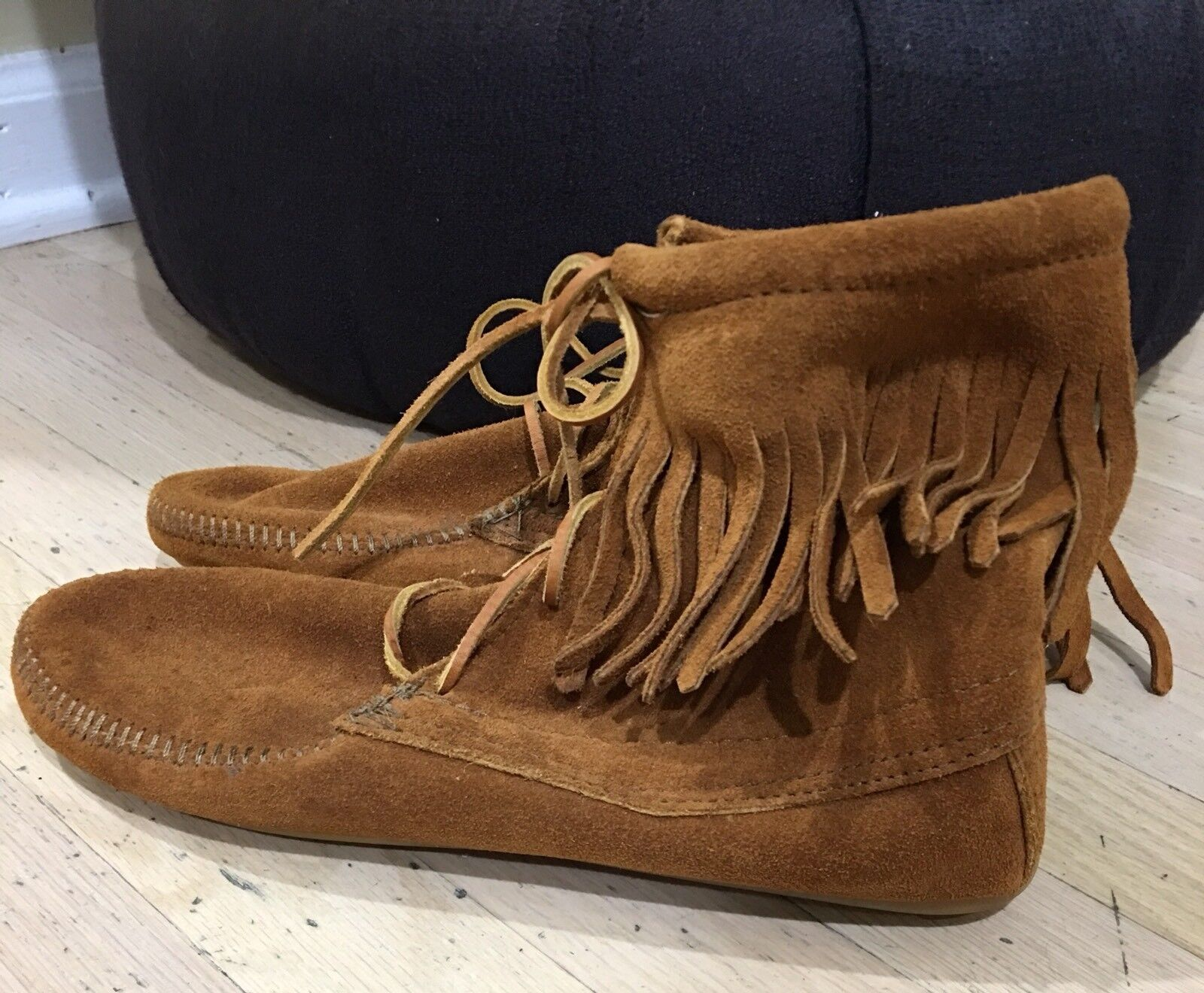 Minnetonka Women's Fringe Pull On Ankle Boot Rust-Brown SuedeSz-10  NEW