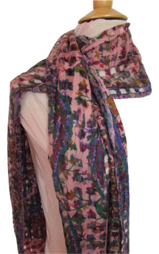 Lightweight Cotton Flower Design Scarf Shawl Colourful Floral Paisley Long Wrap