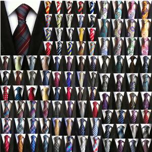 Men-039-s-Ties-Black-White-Blue-Stripe-Paisley-Floral-Checks-Tie-Silk-Necktie