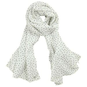 6652ca212 IKKS Girls Ladies White & Blue polka dot Cotton summer scarf /shawl ...