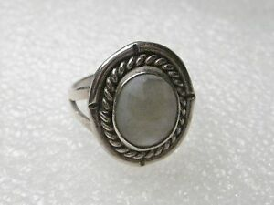 Vintage Sterling Silver Mother-of-Pearl Ring, Southwestern/Navajo, sz. 7.25,